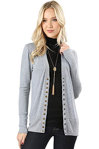 Light Purple Snap - Cardigans for Women Long Sleeve Knit Press-Stud Button Sweater Regular & Plus - Heather Grey (Size 3X)