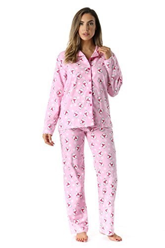 #followme 6371-10225-1X Printed Flannel Button Front PJ Pant Set