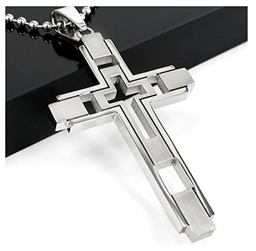Stainless Steel Cross Pendant Silver Tone Prayer Necklace