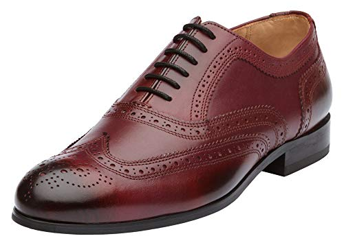 Dapper Shoes Co. Handcrafted Men's Classic Brogue Oxford Wing-Tip Lace Up Leather Lined Perforated Dress Shoes Burgundy