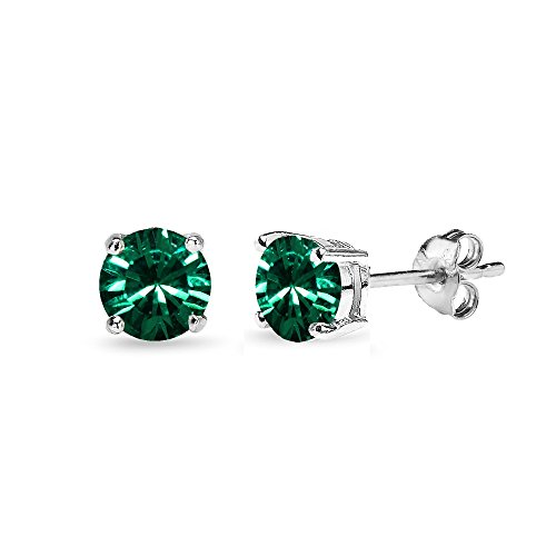 Sterling Silver 5mm Round Green Stud Earrings created with Swarovski Crystals