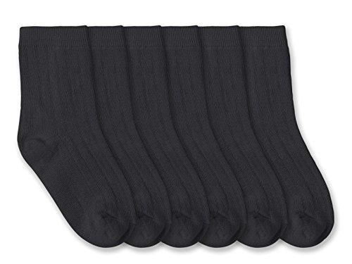 Jefferies Socks Boys School Uniform Rib Crew Socks 6 Pair Pack (L - USA Shoe 6-9 - Age 10-Adult, Dark Charcoal) by Jefferies Socks