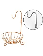 Bahoki Essentials Copper Fruit Tree Bowl with Foldable Banana Hanger, Wire Storage Basket