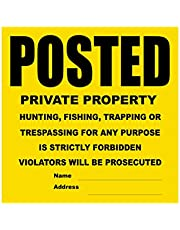 """Posted Private Property Yellow Black Tyvek Sign 11"""" x 11"""""""
