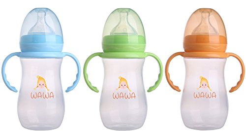Wawa Baby Bottle – the LEAK PROOF feeding bottle with soft silicone nipple for NATURAL touch, milk flow – child safe Anti Colic infant nursing, BPA FREE - 3 Bottles Bundle Pack 8 oz - With handles from Wawa Products