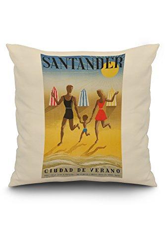 Spain - Santander - (artist: Geruy c. 1942) - Vintage Advertisement (20x20 Spun Polyester Pillow, White Border) by Lantern Press