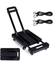 440lb/200kg Heavy Duty Luggage Cart Dolly with 6 Wheels Folding Platform Moving Warehouse Push Hand Truck – Stretchable, Foldable, Collapsible