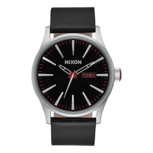 - Nixon Sentry Leather Black Band Stainless Steel Case Men's Watch A105-000