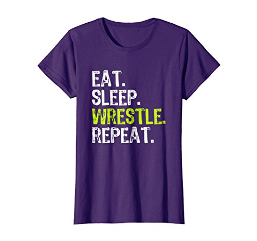 Womens Eat Sleep Wrestle Repeat Wrestling T-Shirt Medium Purple by Eat Sleep Wrestle Repeat Gift Tees