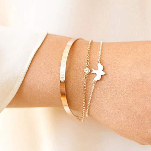 CHOA Charm Peace Dove Thin Link Bracelet for Girls,Tiny Bird BFF Friendship Bracelet for Women