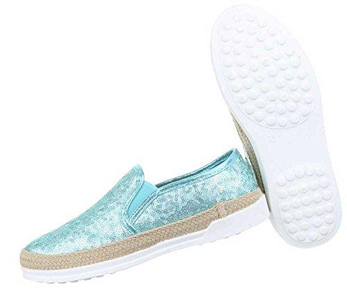 Damen Halbschuhe Schuhe Slipper Schwarz Türkis
