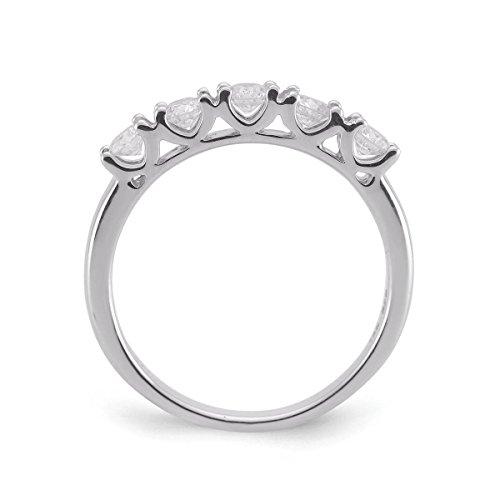 Diamond2Deal 5 Stone Diamond Wedding Ring in 14K White Gold 0.25ct Size 6 by Diamond2Deal (Image #1)