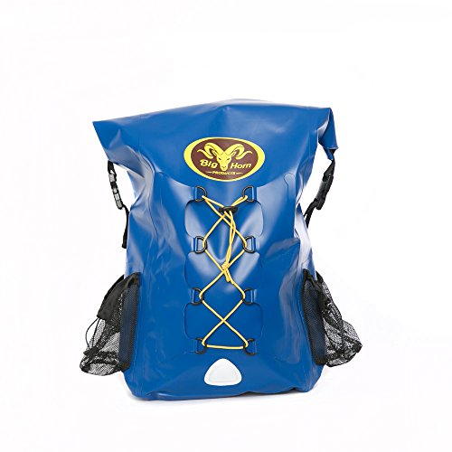 SALE - Waterproof Backpack by Big Horn Products - Large 30L Rolltop Dry Bag Backpack Perfect for Outdoor Adventures (Blue)