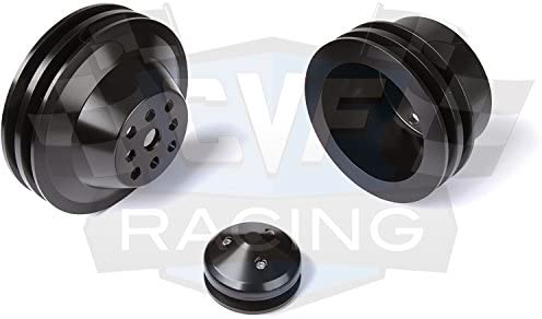 Black Bright Dip Anodize Chevy Small Block Pulley Kit V-Belt LWP 2V