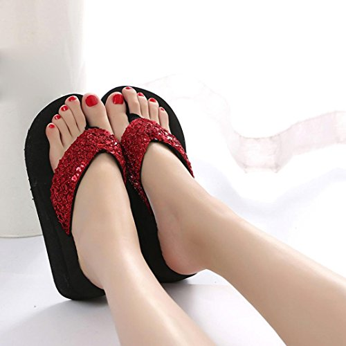 Sandals Soft Bohemian Coromose Toe 5 Women's High Flops Design US Hot Open Summer Shoes Heels 5 Wedge Red Casual Sale Flip 5 7 ASxa6w
