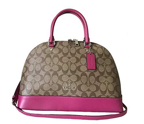 Coach Signature Sierra Satchel Crossbody Bag Purse Handbag (Khaki Cerise)