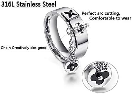 Designer Inspired Titanium Steel Flower Monogram Style Ring