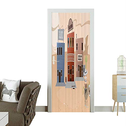 Door Sticker Wall Decals Carto Western Town Humorous Comic Smiling Sheriff Horse Easy to Peel and StickW32 x H80 -