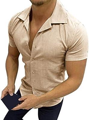 ღLILICATღ Camisa Hombre Verano de Manga Corta de Camisa de Botón Sólido Camisas de Hombre La Solapa Blusa Casual 2019: Amazon.es: Deportes y aire libre