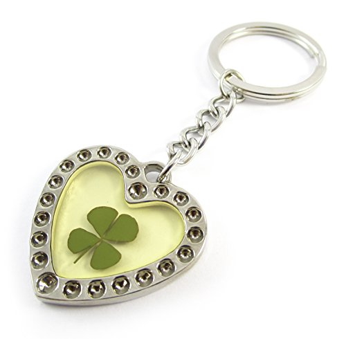 Real Four leaf Clover Crystal Amber Stainless Steel Key Chain Keyring, Heart for Love