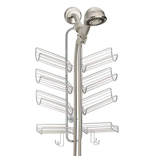 mDesign Metal Wire Bathroom Tub & Shower Caddy, Hanging Storage Organizer - Built-in Hooks and 8 Shelves for Bathroom Shower Stall, Tub - Open Center Design for Hand Held Shower Heads - Silver