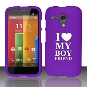 Motorola MOTO G Snap On 2 Piece Rubber Hard Case Cover I Love Heart My Boyfriend (Purple)