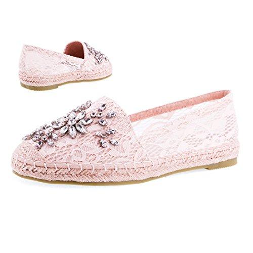 Stylische Espadrilles in Angesagten Pastell Farben mit Strass Steinen Blogger Style Lara Pink