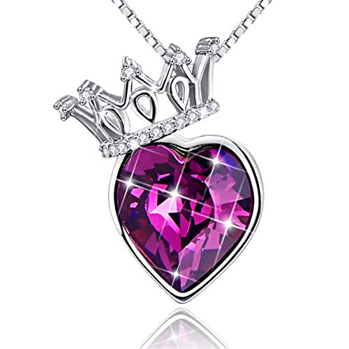 BONLAVIE Heart Pendant Crown Necklace Austrian Crystal Gold Plated Jewelry for Women