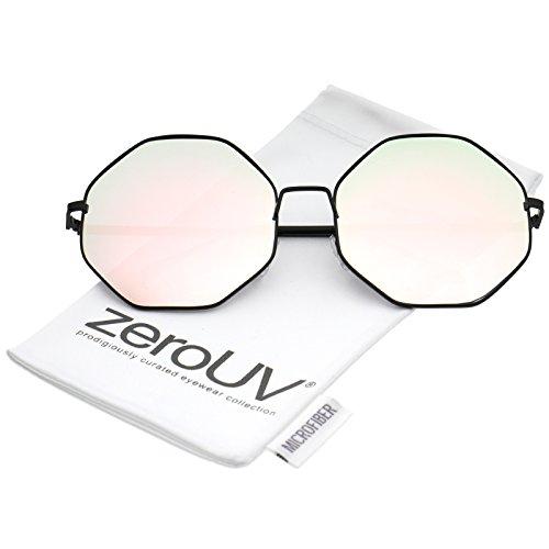 zeroUV - Oversize Metal Frame Slim Temple Pink Mirror Lens Hexagon Sunglasses 63mm (Black / Pink - Sunglasses Hexagon