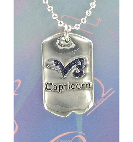 Astrology Zodiac Capricorn Pendant Necklace Dog Tag Style Silver Tone Necklace For Women