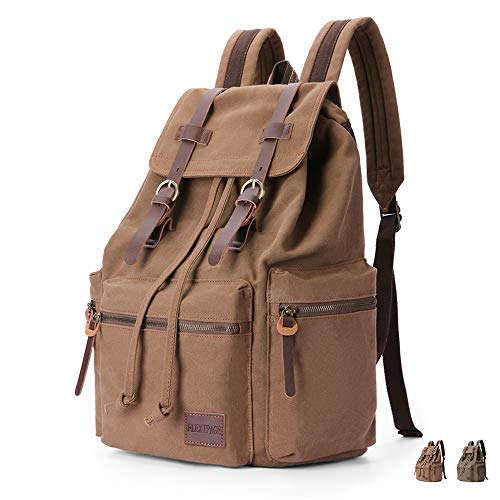 FLEXIPAGE Leather Canvas Vintage Retro Backpack High Capacit