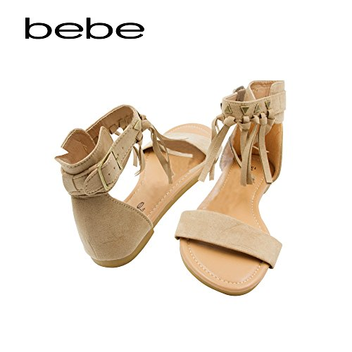 bebe Girls Microsuede Fringe Sandal With Ankle Cuff and Stud Detail Tan Size 2/3