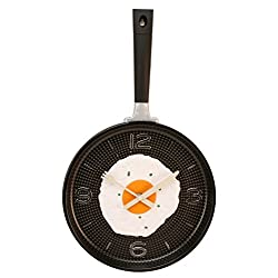 Frying Pan with Fried Egg Shaped Wall Clock, Shabby Chic, Kitchen Themed Unique Wall Clock