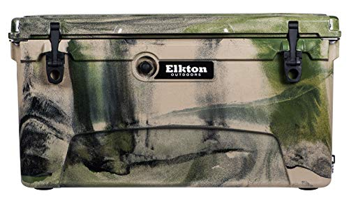 Elkton Outdoors Ice Chest. Heavy Duty, High Performance Roto-Molded Commercial Grade Insulated Cooler, 75-Quart, Camo