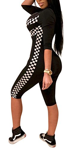Athletic Club - Playworld Women 1/2 Sleeve Print Athletic Tracksuit Racing Suit Sexy Checked Silm Fit Zipper Stitching Carpis Jumpsuits Rompers