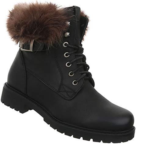 Gefütterte 36 Boots Leder Damen Stiefel Stiefeletten Schwarz 41 Winterstiefel Schuhe Optik qwUE8p