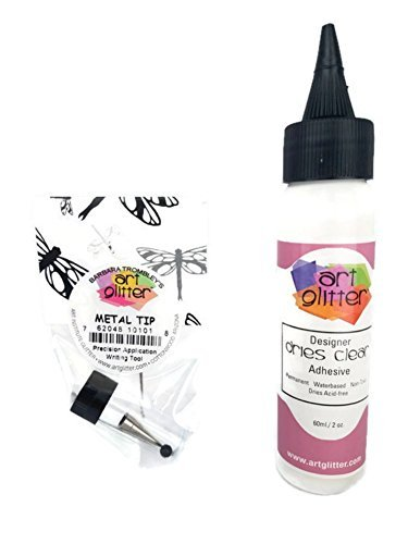 Art Glitter Glue Designer Dries Clear Adhesive 2 oz with Ultra Fine Metal Tip (Original Version)