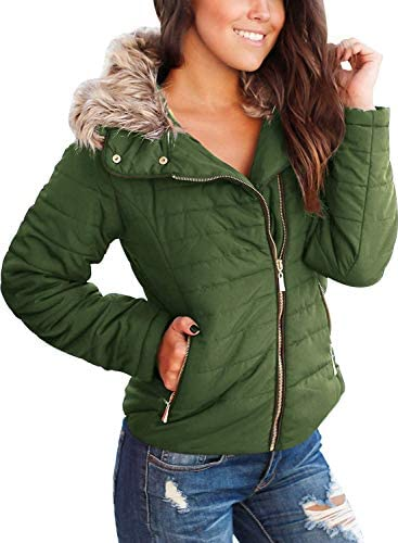 VETINEE WOMEN CASUAL FAUX FUR LAPEL ZIP POCKETS QUILTED PARKA JACKET PUFFER COAT