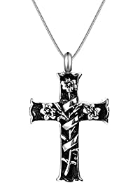 316L-Stainless Steel Antiqued Cross Cremation Urn Necklace for Ash Holder Memorial Pendant Keepsake Jewelry