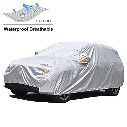 GUNHYI Oxford Car Covers Waterproof Windproof All Weather for Automobile, Snow Sun Rain UV Protective Outdoor, Fit Hatchback (Length 165-178 Inch) (Best Mini Cooper Car Cover)