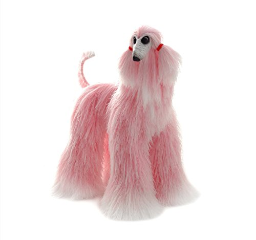 Pink White Collectible Afghan Hound Poseable Miniature Cute Plush Art Doll Needle Felted Dog
