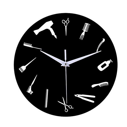 Juner 12 Inch Non -Ticking Silent Wall Clock Decorative, Hairdressing Tools Creative Battery Operated Quartz Analog Quiet Wall Clock, for Living Room, Kitchen, Bedroom (Black) (Furniture Hand Living Second Room)
