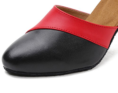 Cow Latin Heel High Shoes Red Ballroom Dance Women's Honeystore Leather Dress Sqw1R6B6