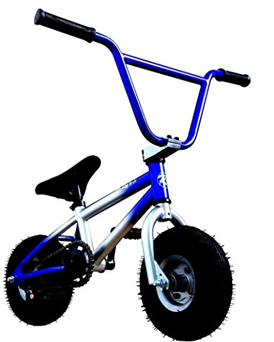 R4 Pro Complete Mini BMX Stunt Bicycle, Blue and Silver W/Pegs