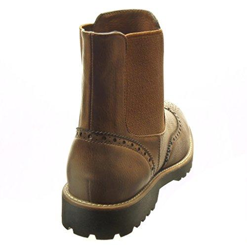 Angkorly - Zapatillas de Moda Botines chelsea boots altas mujer perforado Talón Tacón ancho 3 CM - Marrón