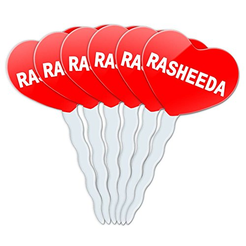 Red Heart Love Set of 6 Cupcake Picks Toppers Decoration Names Female Ra-Re - Rasheeda