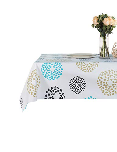Lavin Tablecloth PVC Wipe Clean Table Cloth Waterproof Oil Cloth Heavy Duty Vinyl Table Cover Rectangle Oilproof Satin-Resistant Home Decoration (Dots, 55x79 inch, 140x200 cm)]()