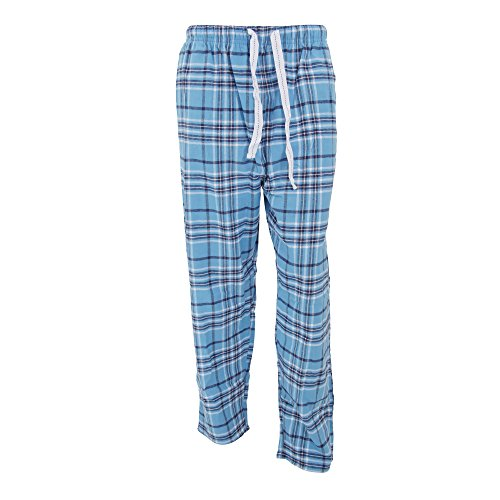 Cargo Bay Mens Plaid Pattern Flannel Pajama Bottoms/Lounge Pants (Medium (Waist: 32-34inch)) (Blue/Black/White)