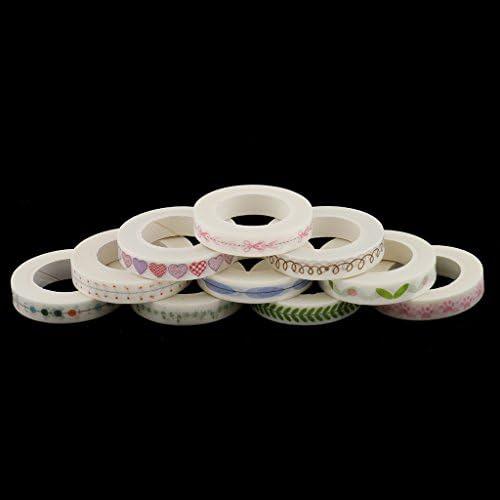 P Prettyia 和紙テープ マスキングテープ 粘着テープ 装飾テープ 8MM幅 10M巻 花柄テープ 約10個セット
