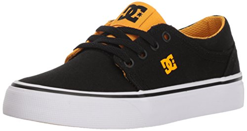 DC Boys' Trase TX Skate Shoe, Black/Yellow, 4 M M US Big Kid (Skateboard Shoe Yellow)